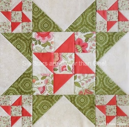 Round Robin Block 10 featured by top US quilting blog and shop, Seams Like a Dream Quilt Designs: Six Stars