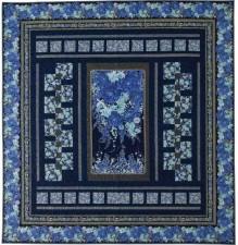 Asian quilt, blue quilt, Imperial Garden fabric