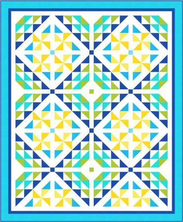 blue and yellow quilt