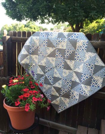 Quarter Turn- baby quilt in blue