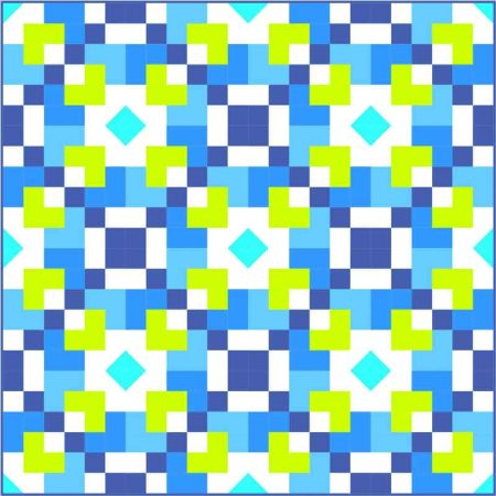 Pixie Hearts quilt in blue and green