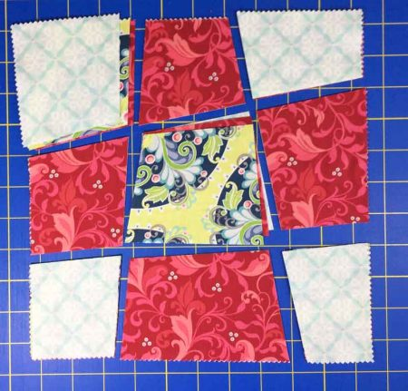 3 blocks cut and ready to sew