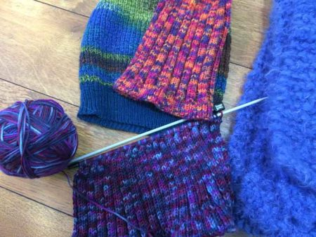 knitting hats and scarves