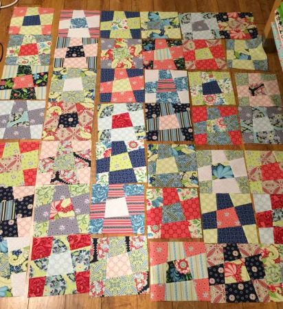 Wonky 9 Patch Tutorial featured by top US quilting blog and shop, Seams Like a Dream Quilt Designs: Blocks all laid out